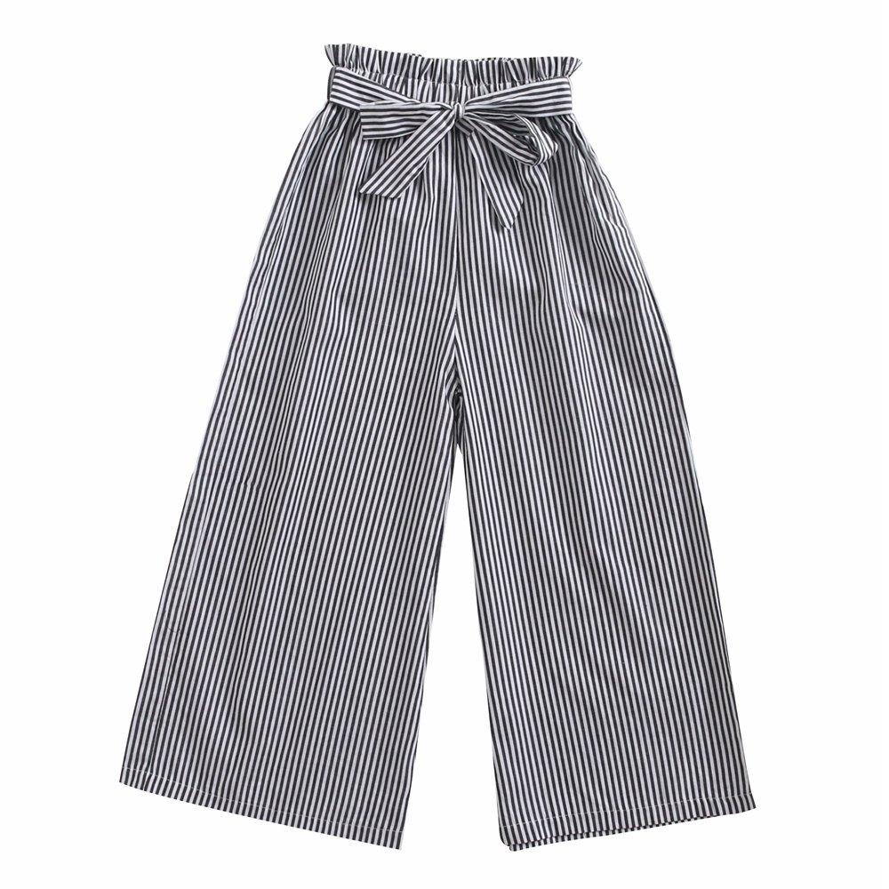 Sanlutoz Fashion Stripe Girl Pants children Cotton Pant Casual Clothes Bundle Soft (9-10 years/140cm, KPW7150)