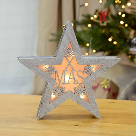mr crimbo wooden cut out star light up christmas decoration shimmery silver painted finish warm white