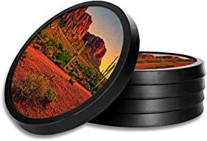 Silicone Non-Slip Drink Coasters with Removable Printed Absorbent Felt Pad - Set of 4 - Red Clay Desert