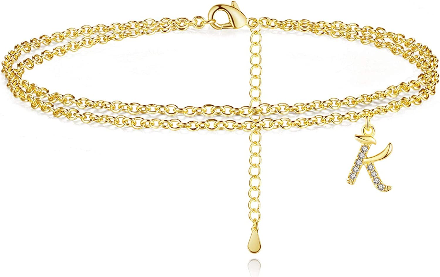 Ankle Bracelets for Women Gold Initial Layered Anklets Jewelry Gift for Women Teen Girls with Letter K