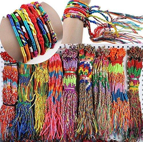 Sumanee 10 Infinity Boho Wind Multi-Color Braid Strands Cords Bracelet Cuff -