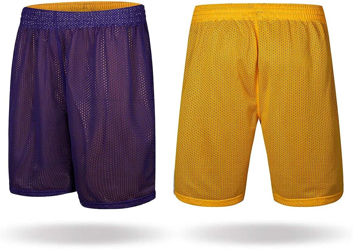 Both Sides can be Worn Mesh Basketball Shorts with Pockets M-2XL cuifutang Mens Active Shorts Quick Dry