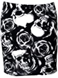 Mini Skirt with Skull and Roses Print