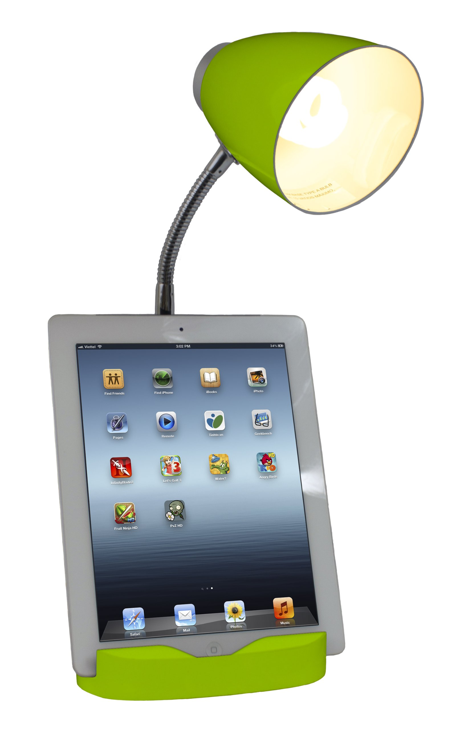 limelights ld1002grn gooseneck organizer desk lamp with ipad stand