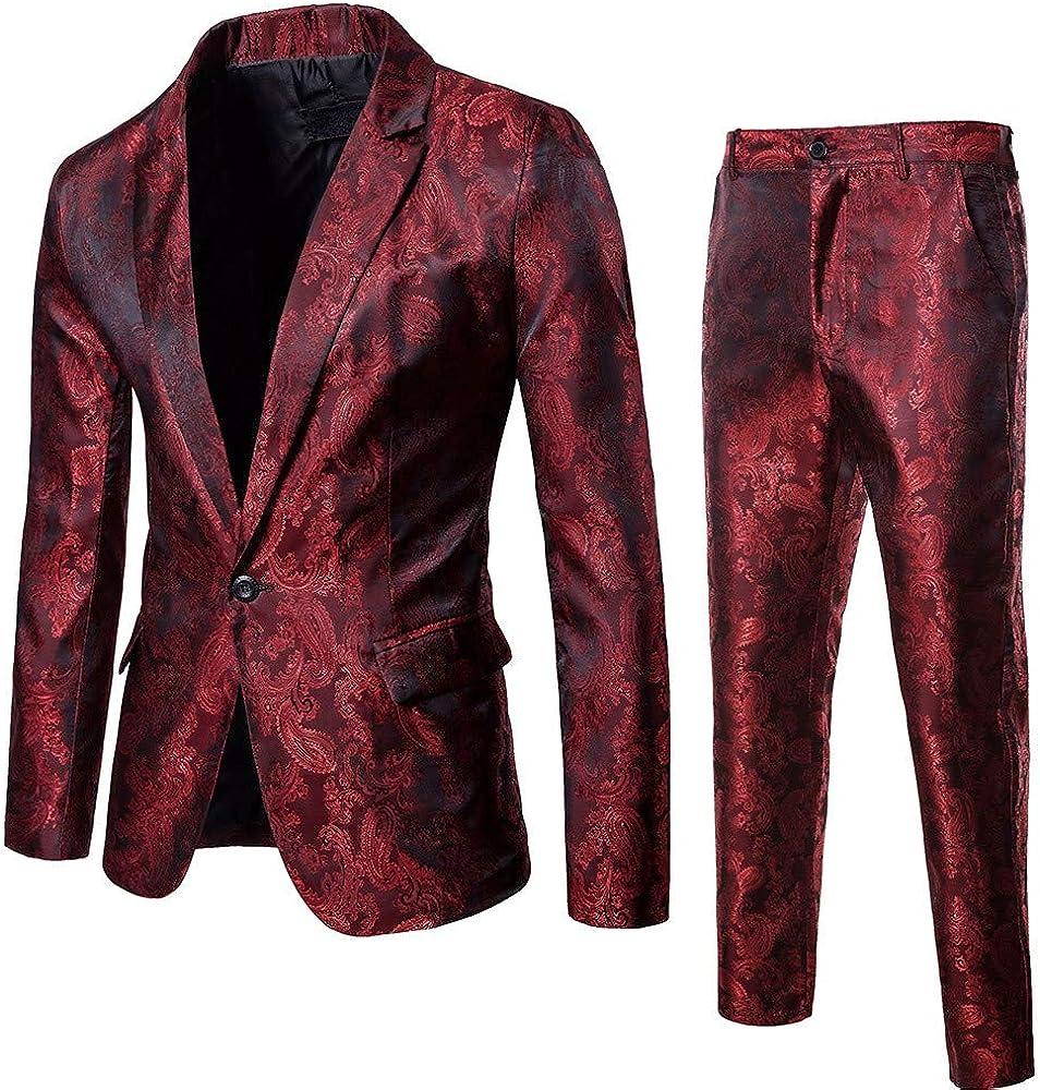 Logobeing Chaqueta y Pantalón de Traje de Hombre Blazer - Traje de 2 Piezas- Chaqueta de Fiesta de Bodas de Negocios Chaquetas de Traje Americana Hombre