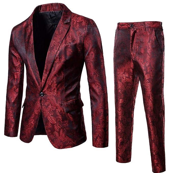 Amazon.com: Big Daoroka Mens 2-Piece Slim Suit Jacket Coat ...