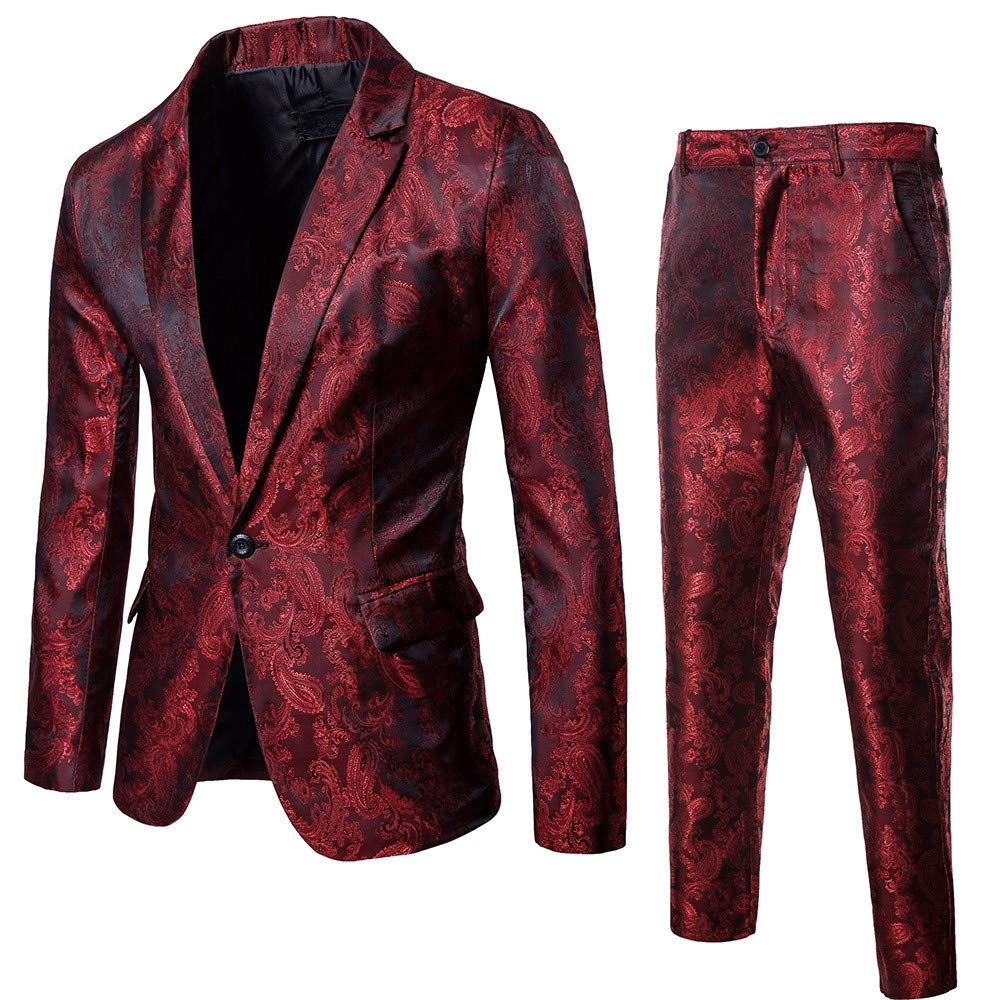 Men Suit Slim Fit 2-Piece Jacket+Pants for Business Wedding ...