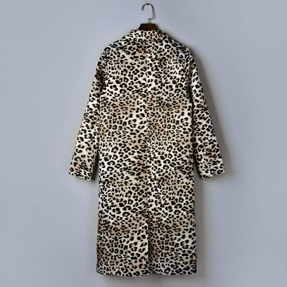 Amazon.com: Abrigo largo para mujer, diseño de leopardo ...