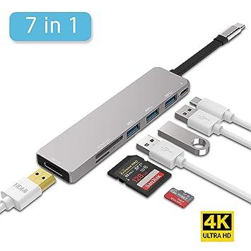 Inpher - Adaptador USB Tipo C 7 en 1 USB 3.0 con Puerto de Carga ...