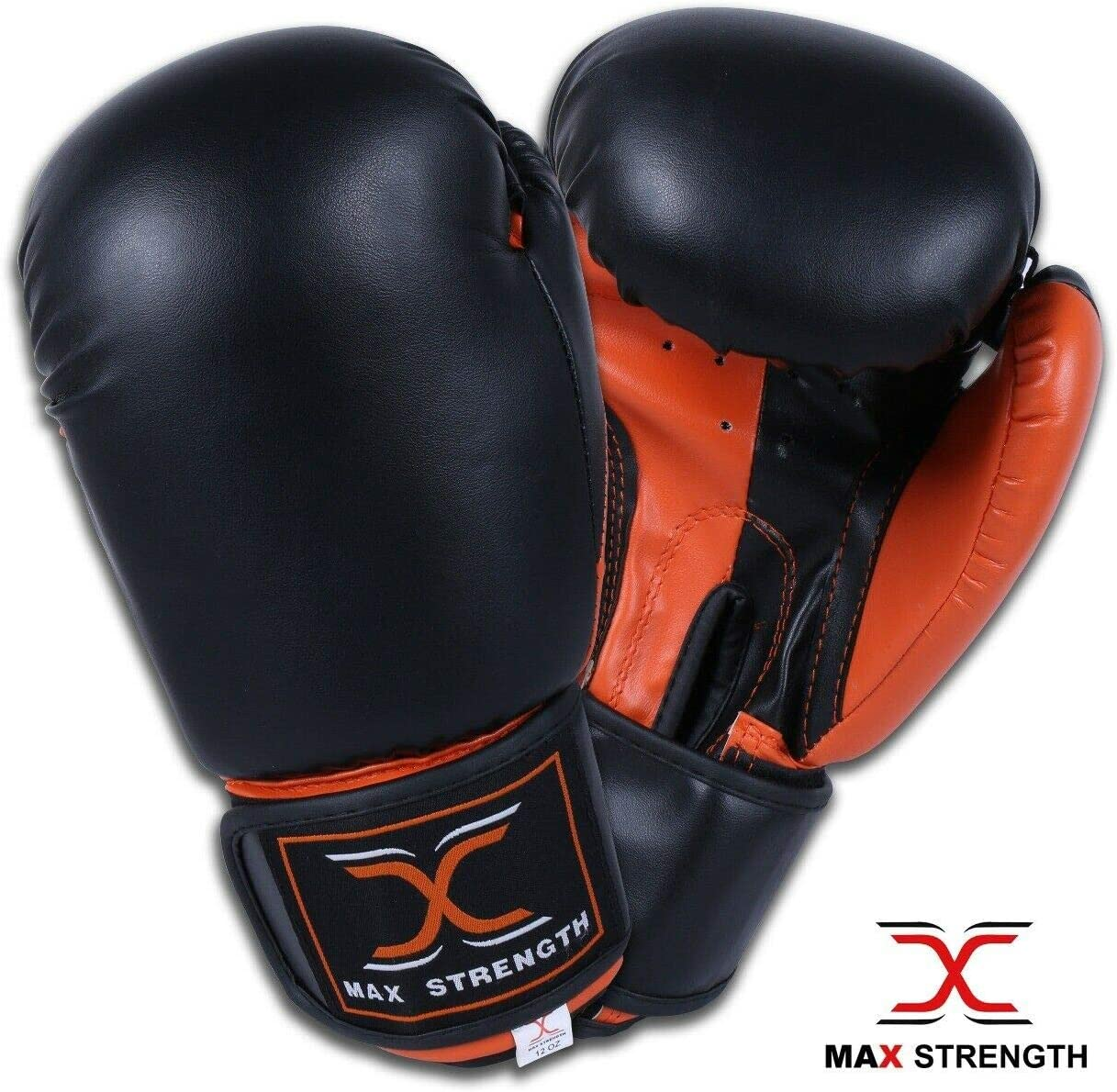 Black /& Orange, 10oz Max Strength Focus Pads Jab /& Hook Boxing Sparring Punching Gloves MMA Mitts Set