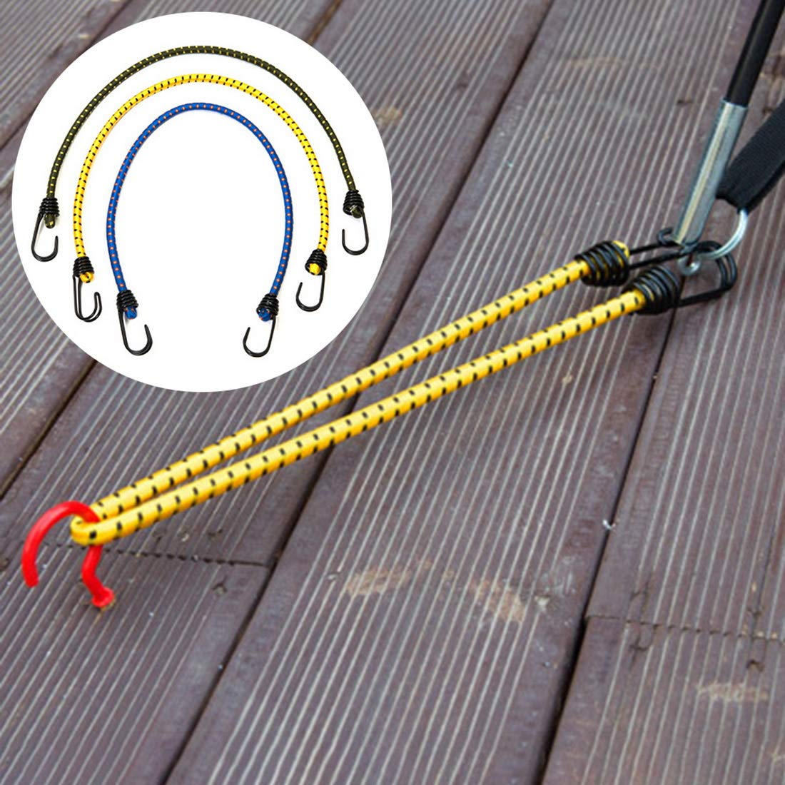 Bungee Cords With Hooks Assortment 3 Pcs Length 23.62 Inch Dia 0.31 Inch Random Color For Cargo Camping Rvs Trunks Luggage Racks - Elastic Shock Cord Tarp Tie Downs by Mega Shop (Image #7)