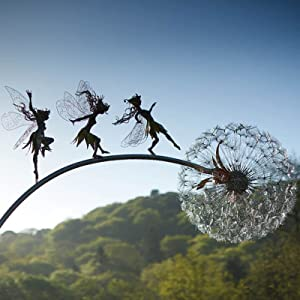 Fairies and Dandelions Dance Together - Dramatic Fairy Sculptures Dancing with Dandelions, Metal Yard Art Garden Stakes, Robin Wight Wire Fairy Dandelion Sculptures Wind Catcher Fairy Garden (C)