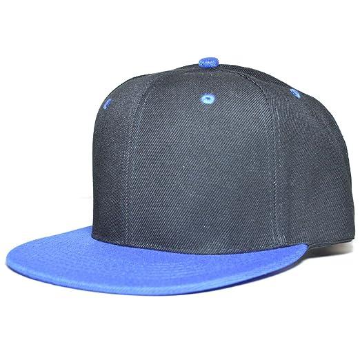 549f726a Solid Blank Plain Adjustable Classic Snapback caps Snap Back Baseball Cap  Hat (Black/Blue