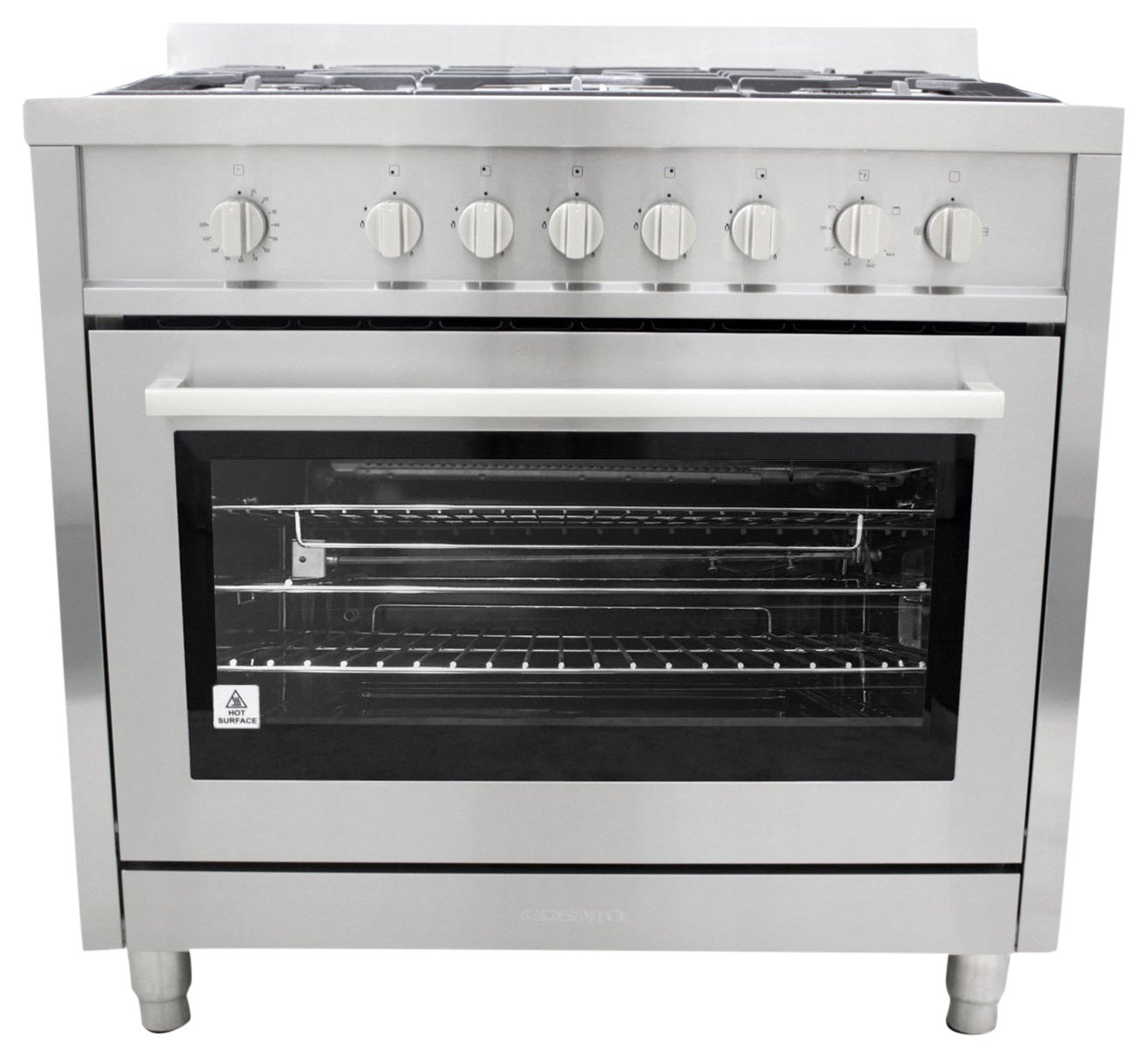 36 in. Gas Range with 5 Italian Made Burners, Oven, Broiler, Motorized Rotisserie, with Legs Cosmo COS-965AGF by Cosmo