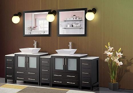 Amazon Com Vanity Art 96 Inch Double Sink Bathroom Vanity Set 2 Shelves 13 Drawers Quartz Top And Ceramic Vessel Sink Bathroom Cabinet With Free Mirrors Va3130 96 E Kitchen Dining