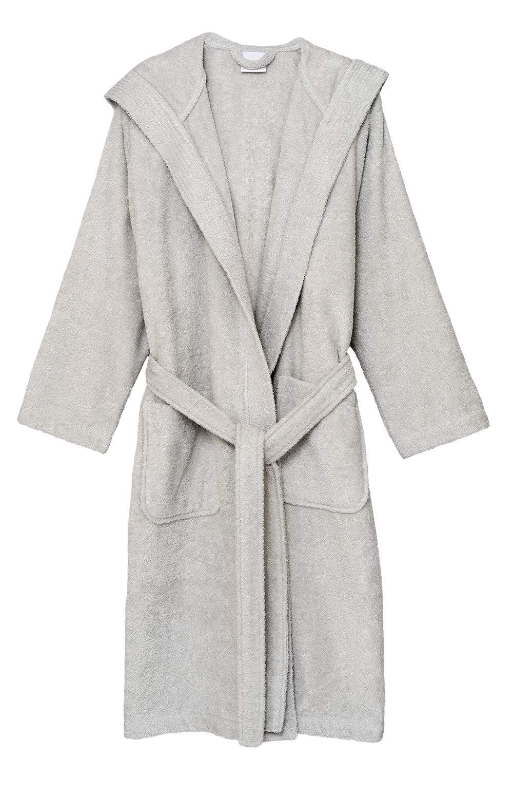 TowelSelections Men's Hooded Robe, Cotton Terry Cloth Bathrobe Medium Glacier Gray