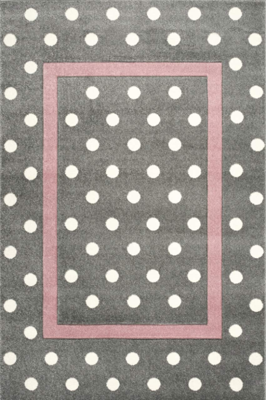 Livone Kinderzimmer Baby Kinderteppich Punkte Kreise Bordüre in Silber grau Weiss Größe 160 x 220 cm