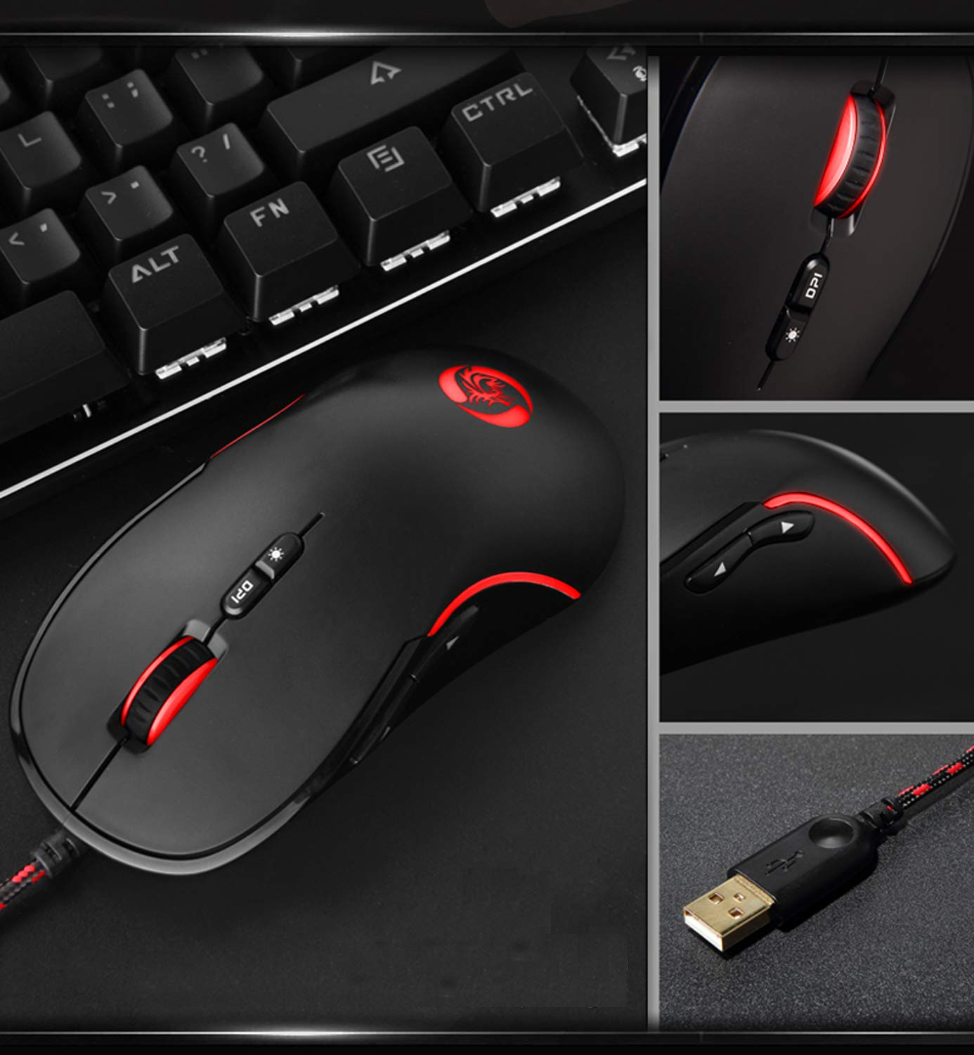 LILONG Gaming Mouse Wired [Metal Base] [Breathing Light] Ergonomic Game USB Computer Mice RGB Gamer Desktop Laptop PC Gaming Mouse, 7 Buttons for Windows 7/8/10/XP Vista Linux, Optical Sensor PMW3050