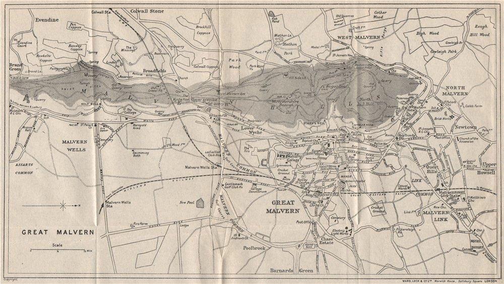 GREAT MALVERN vintage town/city plan. Worcestershire. WARD LOCK ...
