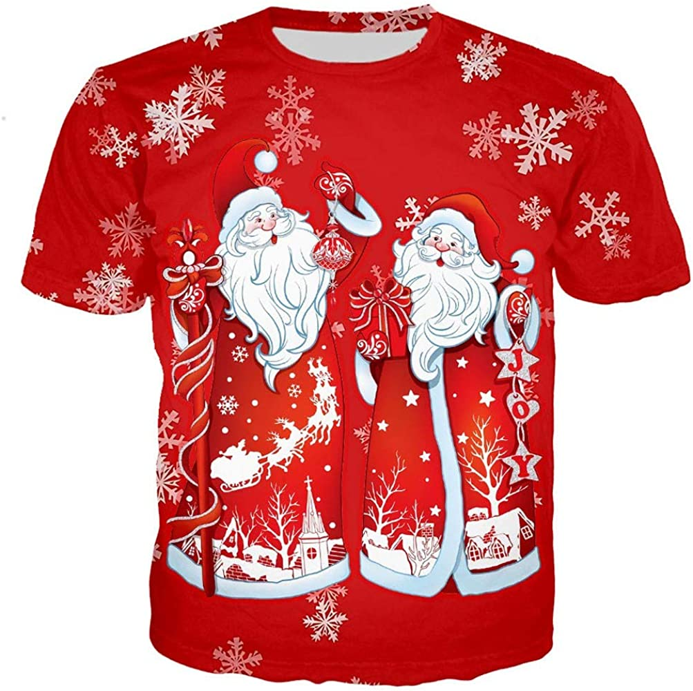 SMILEQ Camiseta navideña para Hombre Camisa Casual de Manga Corta con Cuello Redondo Tops Estampados 3D de Santa Claus Blusa Suelta Talla Grande (S, Rojo): Amazon.es: Ropa y accesorios