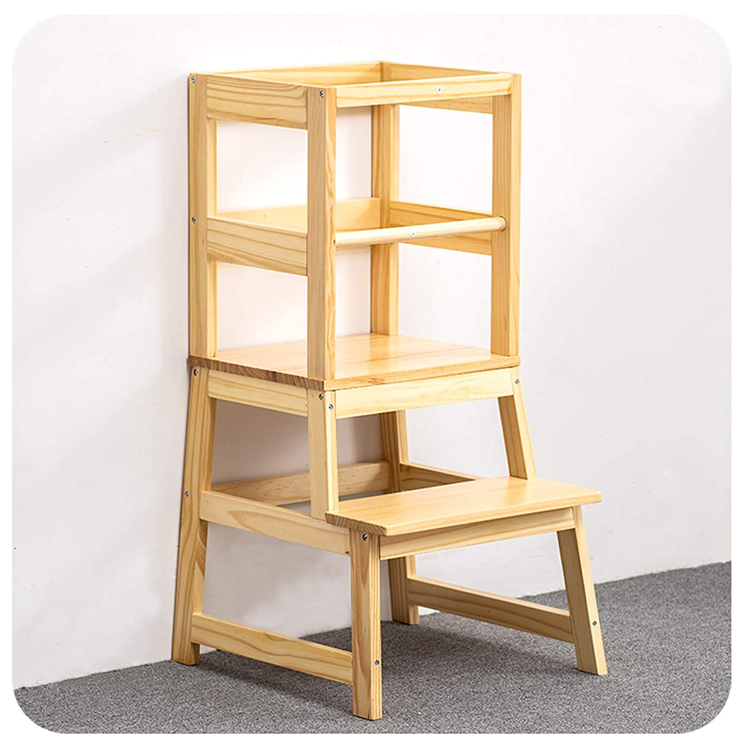WOOD CITY Kitchen Helper Stool for Kids with Non-Slip Mat, Toddler Stool Tower, Wooden Toddler Stepping Stool for Counter & Bathroom Sink, Natural