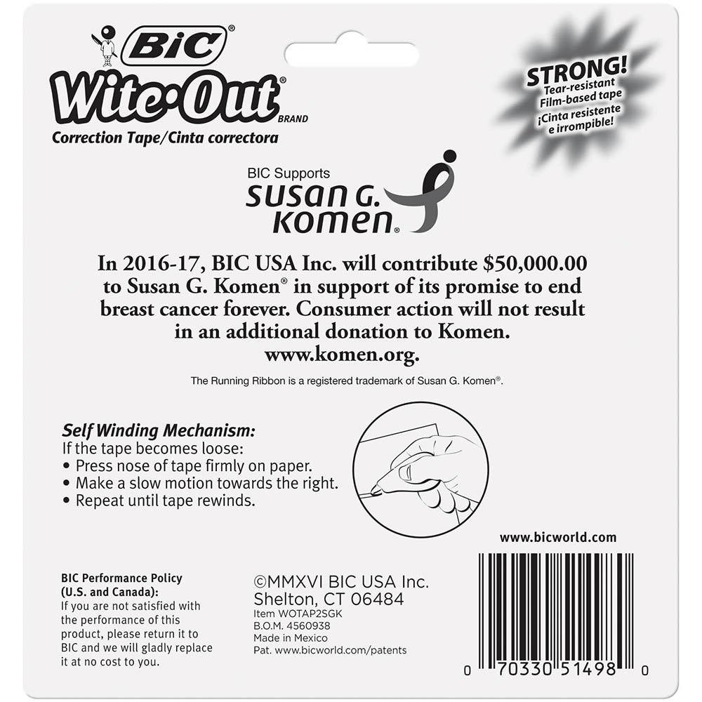 BIC Wite-Out Brand EZ Correct Correction Tape Supporting Susan G. Komen, 2-Count by BIC (Image #4)