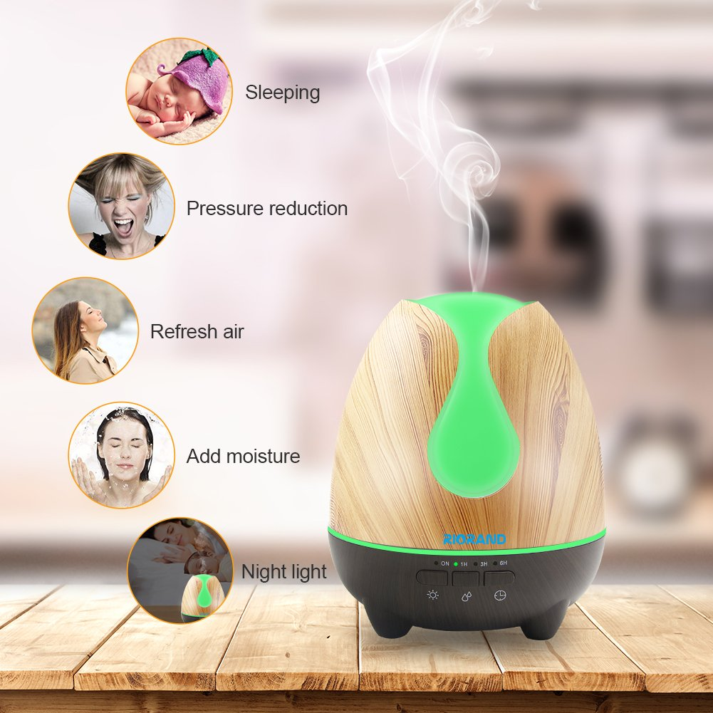 Aroma Essential Oil Diffuser,The Exclusive 500ml Aroma Diffuser with Soundproof Shield in Amazon,Novel style,Whisper-Quiet with 7 Color LED Light Waterless Auto Shut Off(black+yellow)