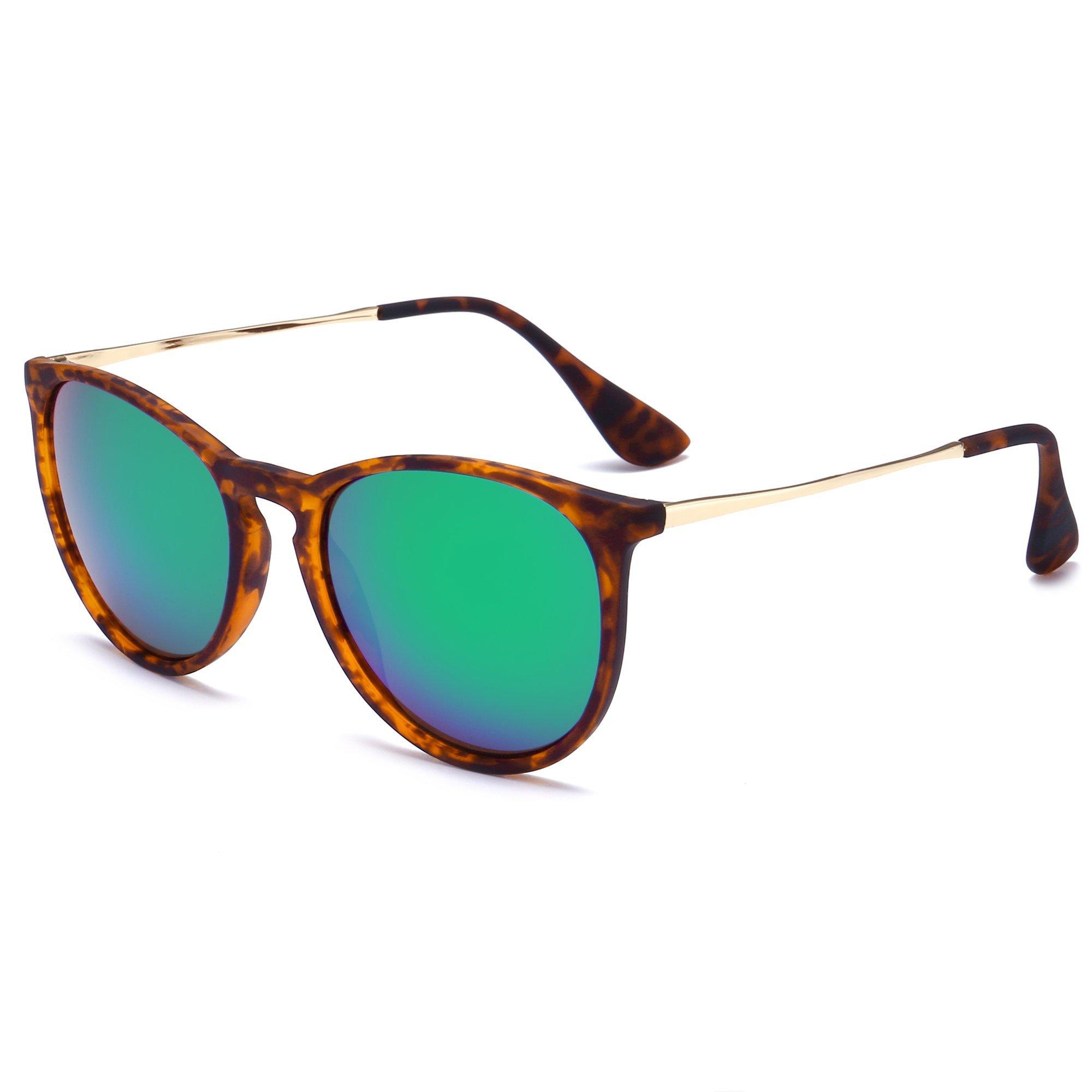412fda84012 Details about SUNGAIT Vintage Round Sunglasses for Women Erika Retro Style  (Amber Frame Green
