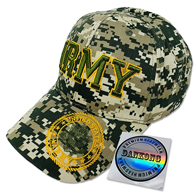 DANKONG U.S. Army Hat -Official Licensed US Warriors Military 3D  Embroidered Baseball Cap with Size d0cd8e72d35