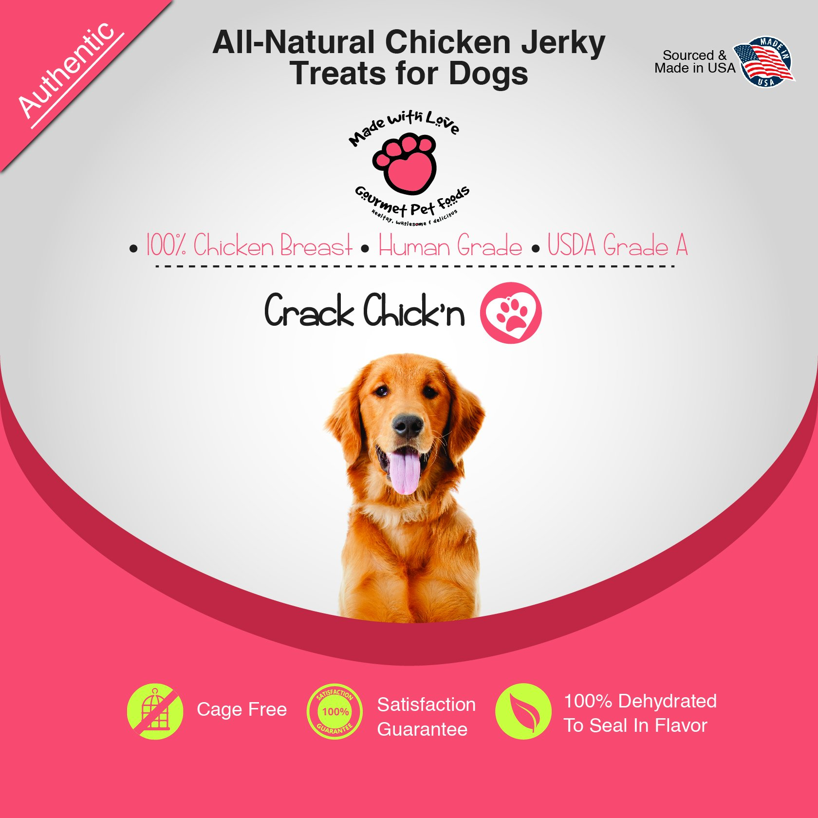 All Natural, Dehydrated Chicken Jerky Dog Treats, 100% Chicken Breast, Human Grade, USDA Grade A, Cage Free, Non-GMO, Grain Free, No Preservatives, Sourced & Made in USA, Great for Training by MADE WITH LOVE - CRACK CHICK'N (Image #2)
