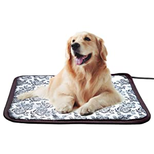 Whitney Pet Heating Pad Cat Heating Mat Waterproof Pets Heated Bed Adjustable Dog Bed Warmer Electric Heating Mat with Chew Resistant Steel Cord (17.7x17.7, Flower)