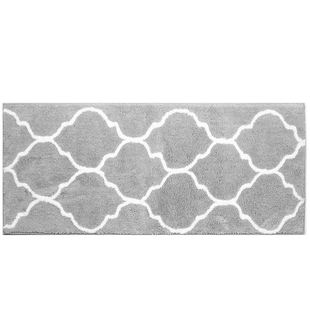 "HEBE Extra Long Bath Rug Runner Non Slip Absorbent Bath Mats Runner for Bathroom Microfiber Bathroom Rugs Runner Machine Washable Geometric 18""x48"" (Grey)"