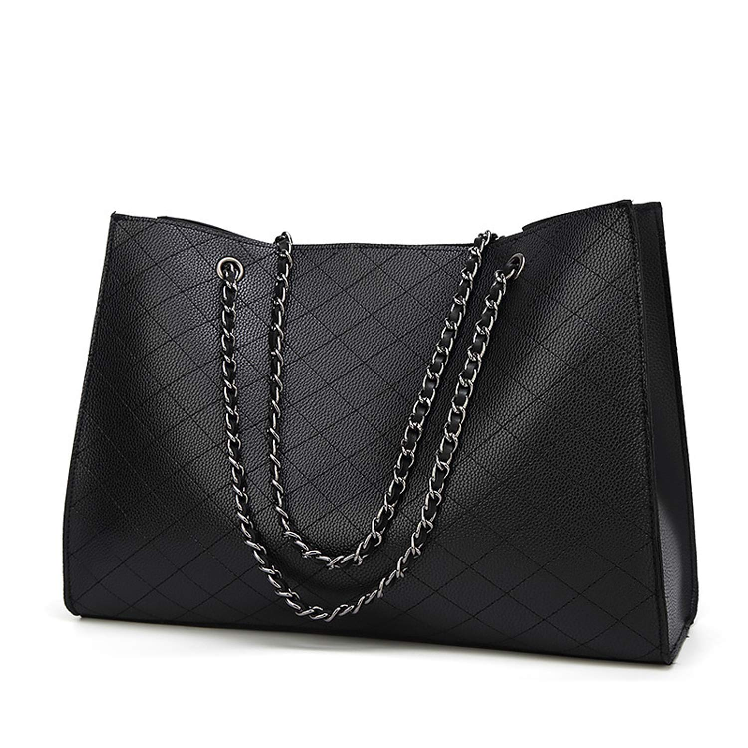 0ad9c7ab4e3 Amazon.com  Quilted Handbags for Women Large Chains Tote Shoulder Bags with  Zipper Pouch (Black)  Shoes