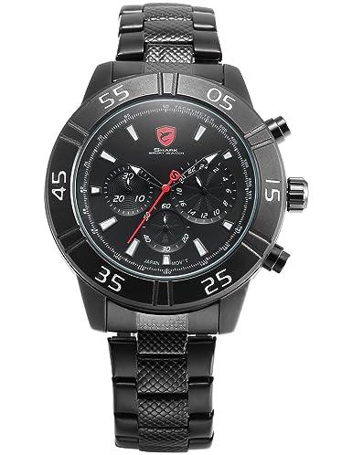 Sandbar Shark Deportivos Relojes De Pulseras Hombre Acero inoxidalbe 24 Horas Cronógrafo SH300: Amazon.es: Relojes