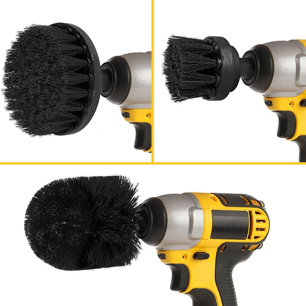 SIQUK 3 Pieces Scrub Brush Drill Attachment Kit Stone Meta Black Ultra Stiff Bristle Power Scrubber Cleaning Brush for Heavy Duty Industrial Stripping and Harsh Scrubbing Applications on Concrete
