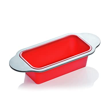 """Meatloaf and Bread Pan   Gourmet Non-Stick Silicone Loaf Pan by Boxiki Kitchen   for Baking Banana Bread, Meat Loaf, Pound Cake   8.5"""" FDA-Approved BPA-free Silicone, Steel Frame + Handles"""