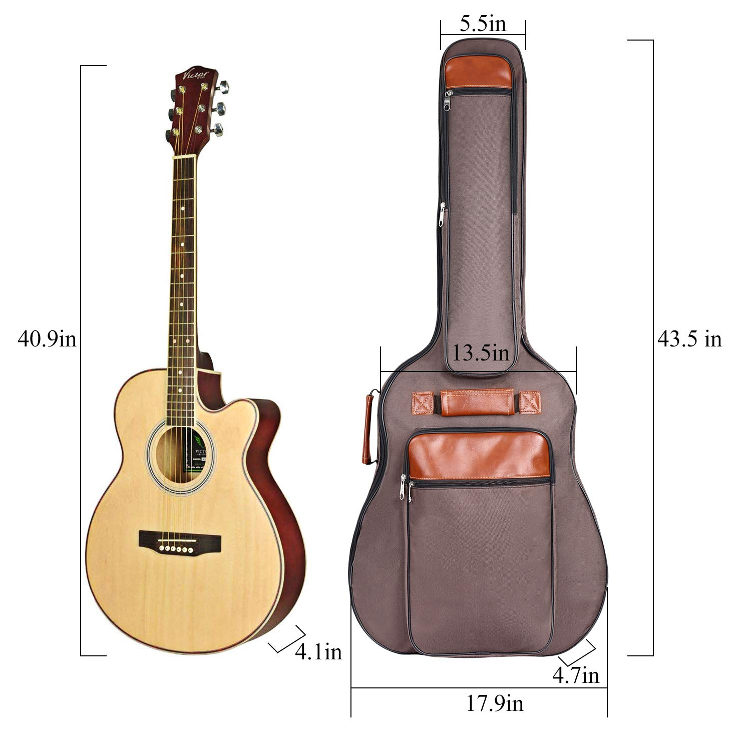 CAHAYA Guitar Bag 40 41 42 Inches 6 Pockets [Upgraded Premium Version] Guitar Case Waterproof Oxford Cloth 0.5 Inch Extra Thick Sponge Overly Padded with 5 Picks & Holder for Acoustic Classical Guitar by CAHAYA (Image #8)