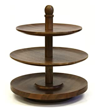 Exceptionnel Amazon.com   Mountain Woods 3 Tier Acacia Wood Lazy Susan Tabletop Serving  Tray