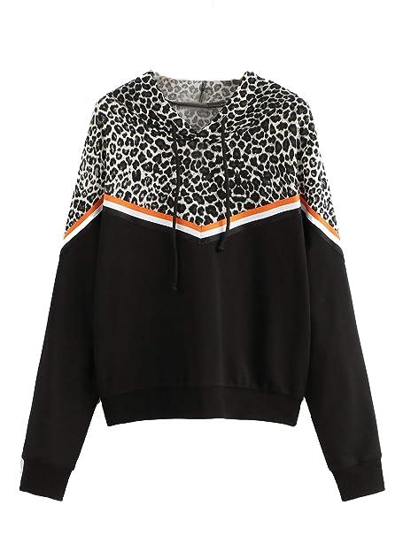 3a396530e95a SweatyRocks Women's Causal Sweatshirt Leopard Long Sleeve Drawstring  Hoodies Lightweight Pullover Tops at Amazon Women's Clothing store: