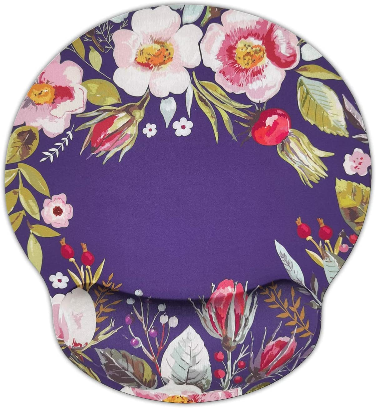 Ergonomic Mouse Pad with Wrist Support,Dooke Cute Wrist Pad with Non-Slip Rubber Base for Computer, Laptop, Home Office Gaming, Working, Easy Typing & Pain Relief Pink Flower