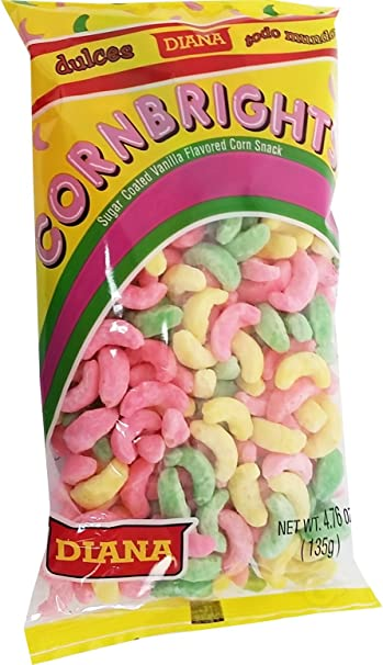 Prodiana Corn Brigths 4.76 oz - Elotitos Cubiertos de Vainilla de Colores (Pack of 6