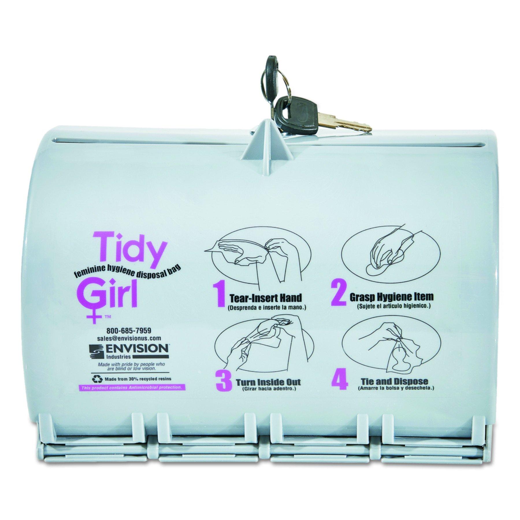 Stout TG-DISP Tidy Girl Plastic Feminine Hygiene Disposal Bag Dispenser, Gray