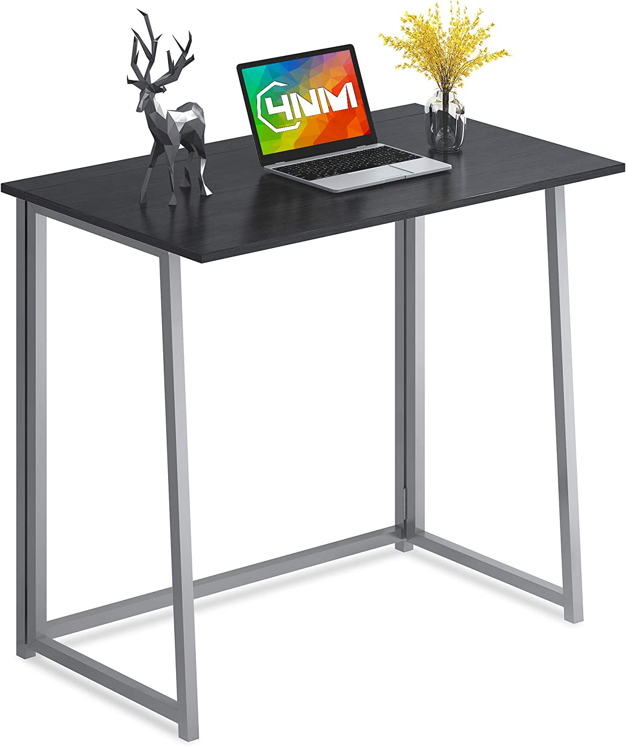 4NM Folding Desk, Small Computer Desk Home Office Desk Foldable Table Workstation for Small Places (Black and Silver)