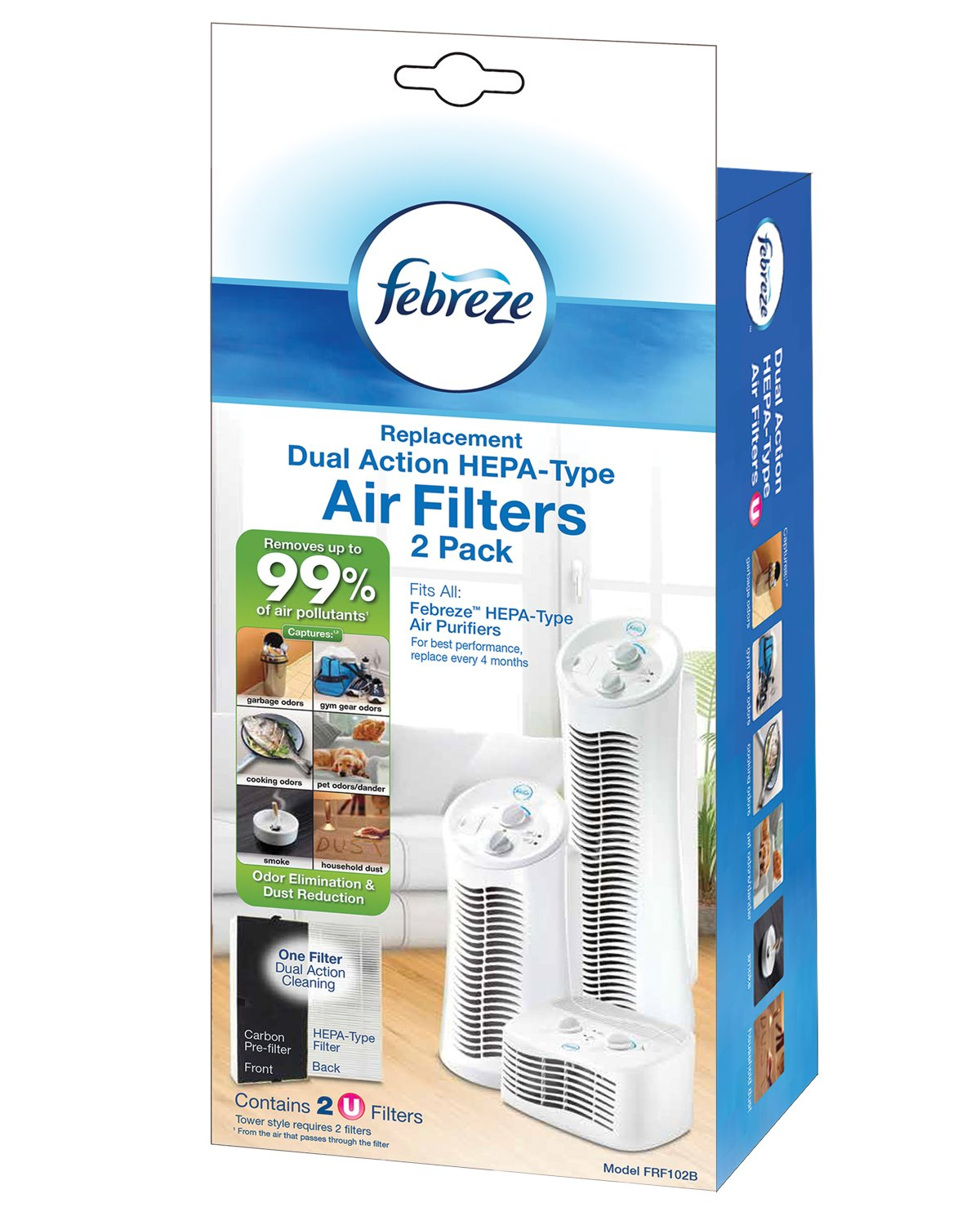Febreze Replacement Dual Action Filter 2-Pack FRF102B with Odor Reducing Carbon Pre-Filter
