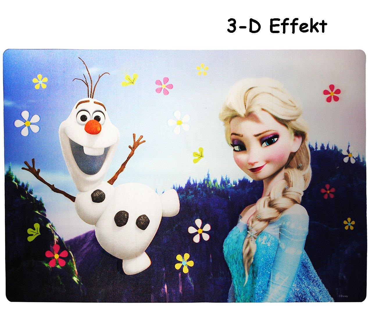 3-D Effekt Unterlage - Disney die Eiskönigin / Frozen - 42 cm * 29 cm incl. Namen - Tischunterlage / Platzdeckchen / Malunterlage / Knetunterlage / Eßunte.. Kinder-land