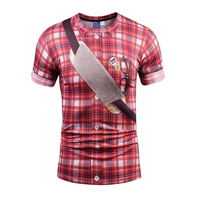 Camiseta para Hombre, RETUROM Camisa de Cuadros de imitación de la Moda de los Hombres