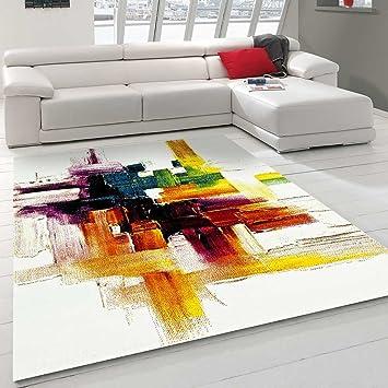 Unamourdetapis Tapis Salon Moderne et Abstrait Belo 3 Rouge, Creme, Jaune,  Vert, Noir, Orange 240 x 340 cm