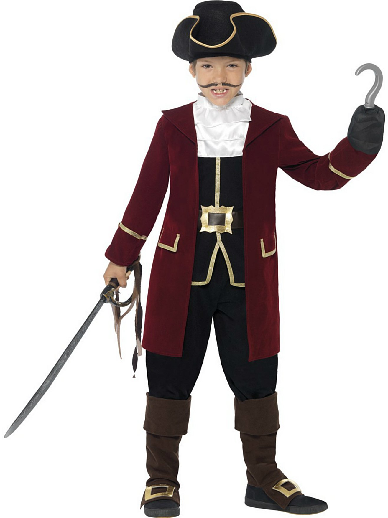 Pirates Little Boys' Deluxe Pirate Captain Fancy Dres Costume All 4-6 Years Red And Black by Unknown