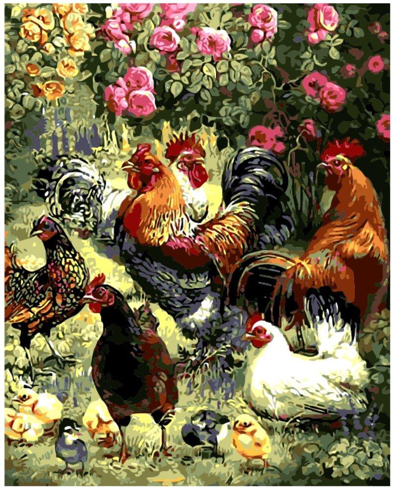 OBELLA Malen nach Zahlen Kits    Cock Hen Chicks Cock Henne Küken 50 ...