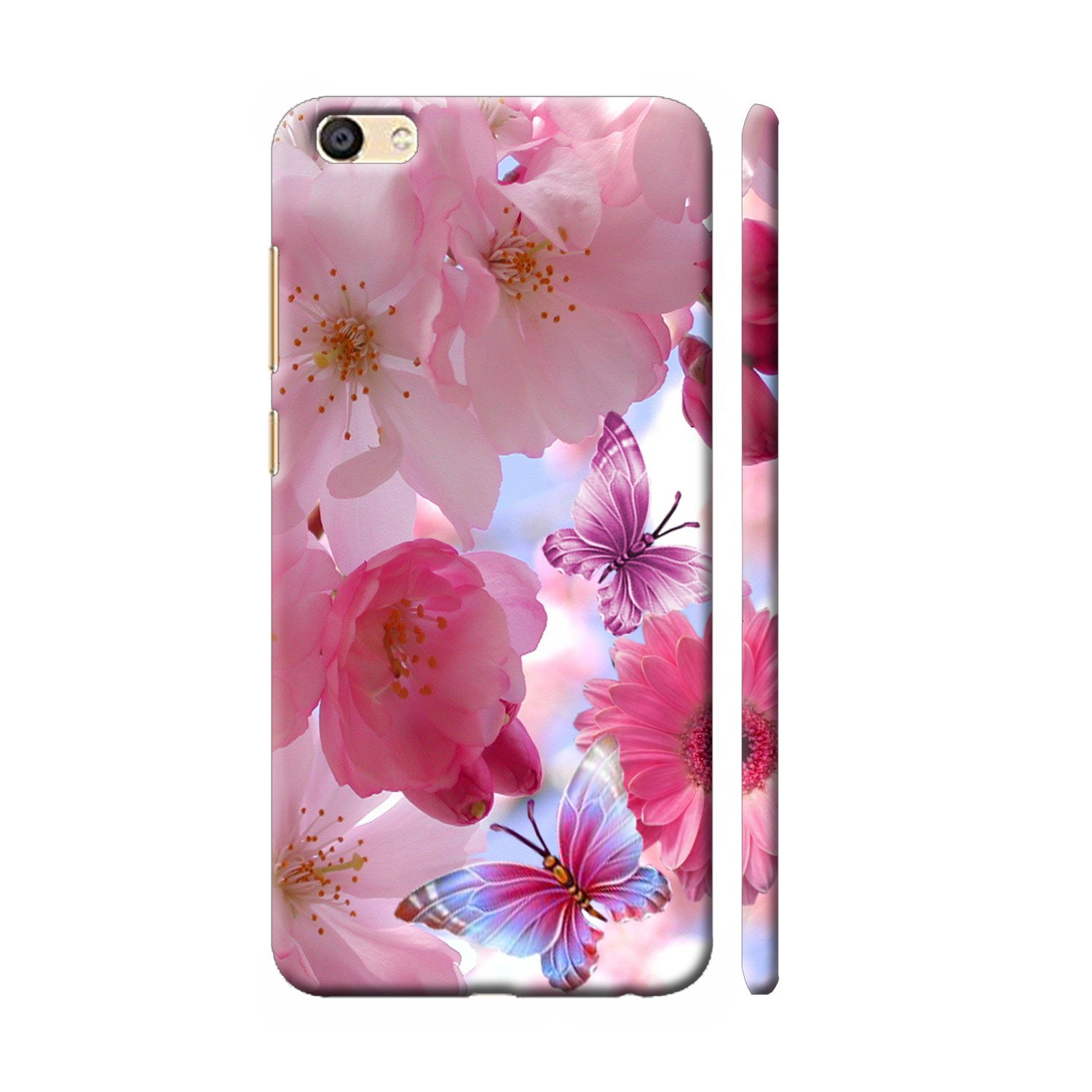 new arrival 244b1 fbafb Clapcart Vivo Y66 Designer Printed Back Cover for Vivo 1609 / Vivo Y66  -Pink Color (Butterflies and Flowers Design Print)